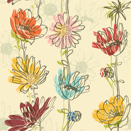 flower pattern: Seamless Floral Pattern With hand-drawn flowers  Illustration
