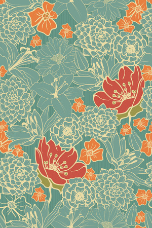 Seamless Floral Pattern With Red Flowers On Monochrome Background   イラスト・ベクター素材