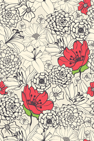 decorative pattern: Seamless Floral Pattern With Red Flowers On Monochrome Background  Illustration