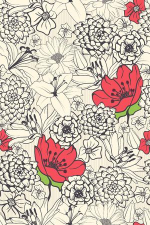 dibujos de flores: Seamless patrón floral con flores rojas en fondo blanco y negro Vectores
