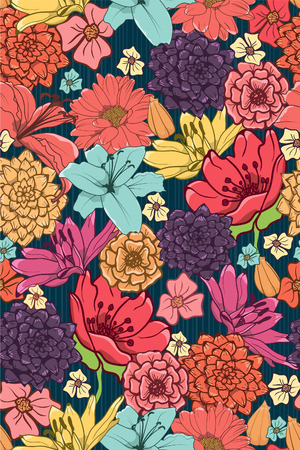 background flowers: Seamless Wallpaper With Brightly Colored Hand-Drawn Flowers