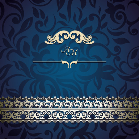 Vintage Card with floral background, luxury blue design