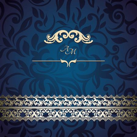 Vintage Card with floral background, luxury blue design