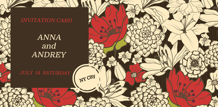 Stylish INVITATION. Floral background With Red Flowers