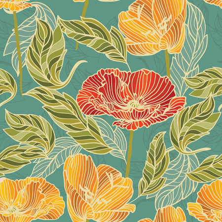 Floral Wallpaper with hand-drawn flowers retro colored