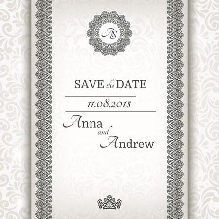 Invitation card Baroque grey and silver, Vintage frame and border, seamless background