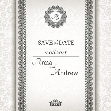 Uitnodigingskaart barokke grijs en zilver, Vintage frame en de grens, naadloze achtergrond Stock Illustratie