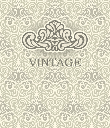 Seamless beige Ornamental pattern with Vintage frame