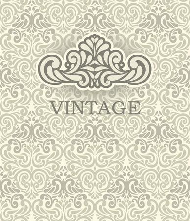 Seamless beige Ornamental pattern with Vintage frame