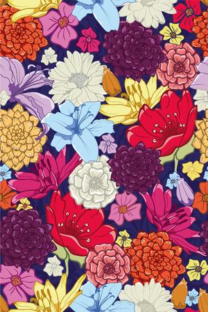 Naadloos bloemenpatroon met handgetekende bloemen. Stock Illustratie