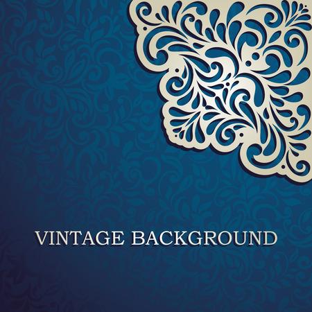 Vintage background with designed corner, card, invitation, album cover Vectores
