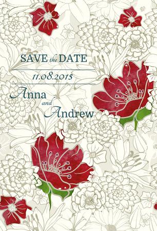 Bloemmotief met rode watercolored bloemen op zwart-wit achtergrond, bruiloft uitnodiging