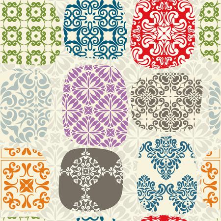 Cracked tile background, colorful vintage seamless pattern