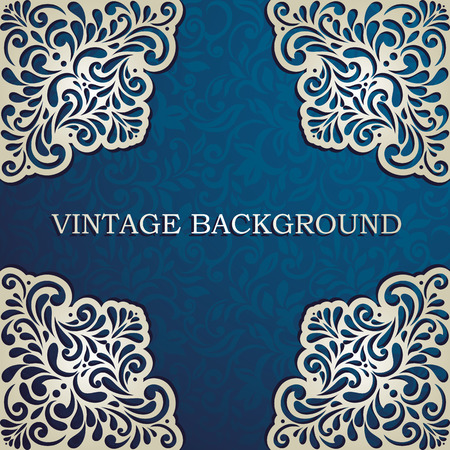 royal wedding: Vintage background with lace corners, card, invitation, album cover