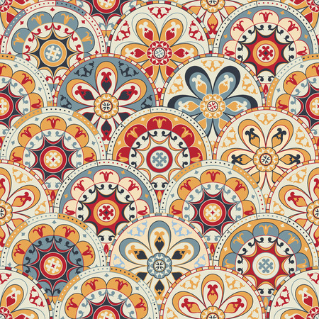 abstract wallpaper: Seamless abstract wallpaper with circles trendy colored Illustration