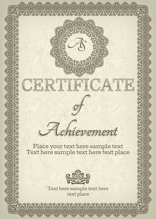 Elegant Classic Certificate. Vintage Frames And Border. Easy ...
