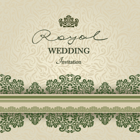 royal wedding: Vintage background, greeting card, invitation with lace ornament, abstract floral pattern template for wedding etc. design Illustration