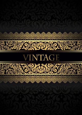 Uitnodiging kaart barokke gouden en zwart, Vintage