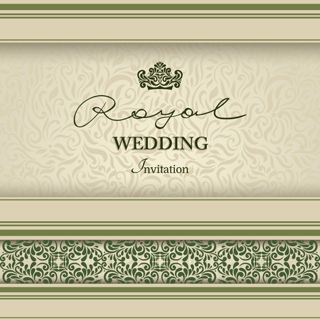 Vintage card, luxury design for invitation, Lace border and design elements.