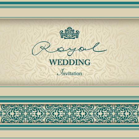 Vintage achtergrond, wenskaart, uitnodiging met kant sieraad, abstract floral patroon sjabloon voor bruiloft enz. Ontwerp