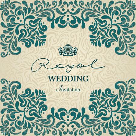 Vintage achtergrond, wenskaart, uitnodiging met kant ornament, abstract bloemenpatroon sjabloon voor bruiloft etc. ontwerp