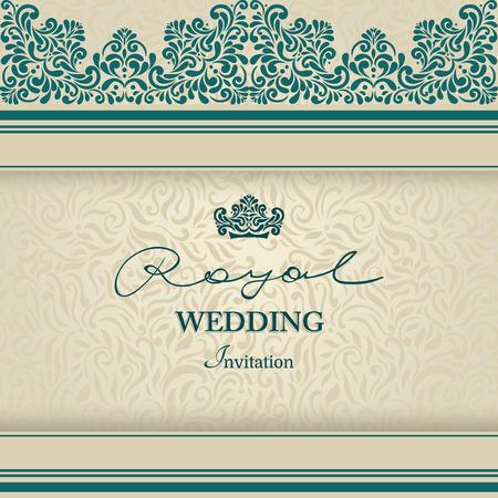 royal wedding: Royal wedding invitation, vintage lace border. Elegant blue Illustration
