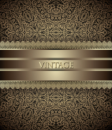 Invitation card Baroque Golden and brown, Vintage frame, border, design elements