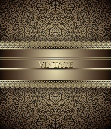 Uitnodiging kaart Barokke Gouden en bruin, Vintage frame, grens, ontwerpelementen Stock Illustratie
