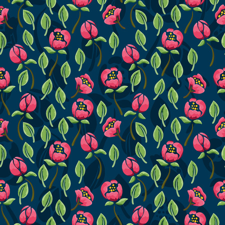 Floral pattern seamless with pink flowers on dark blue background