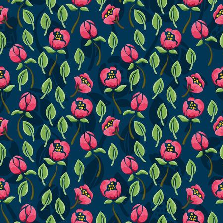Bloemenpatroon naadloos met roze bloemen op donkerblauwe achtergrond Stock Illustratie