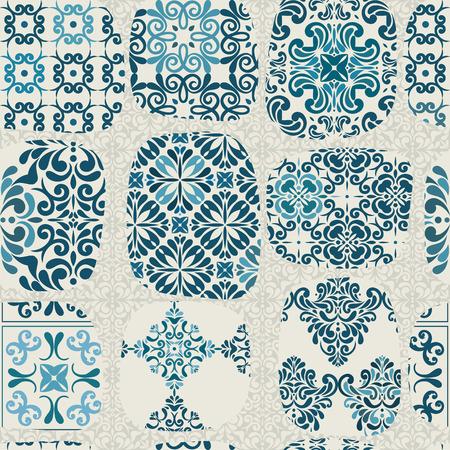 tiles floor: Cracked tile pattern for kitchen, retro blue