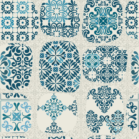 mosaic floor: Cracked tile pattern for kitchen, retro blue