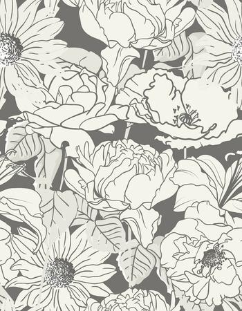 Naadloze hand getekende bloemmotief op zwart-wit achtergrond Stock Illustratie