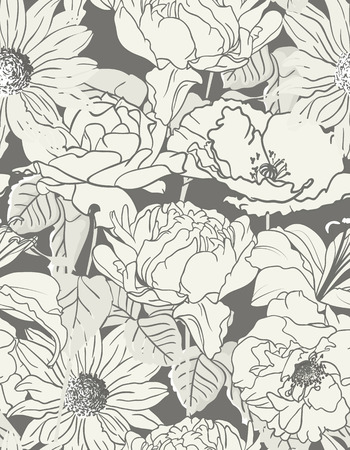 Seamless hand drawn Floral Pattern On Monochrome Background