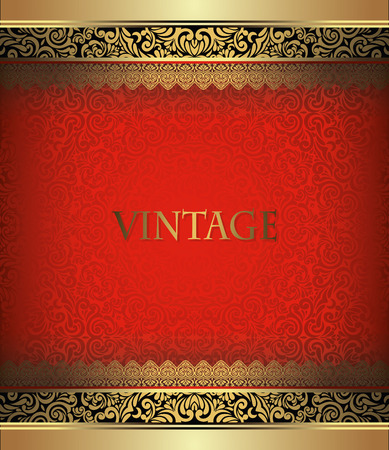 Invitation card Baroque Golden with black and red, Vintage border, design elements