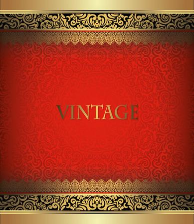 Uitnodiging kaart barokke Golden met zwarte en rode, vintage grens, design elementen