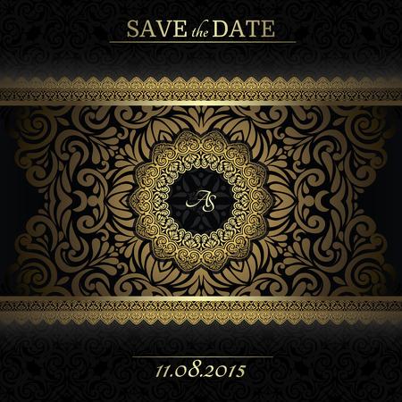 Uitnodiging kaart barokke gouden en zwart, Vintage frame, grens, ontwerp elementen