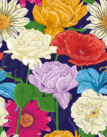 Seamless Floral Pattern With hand-drawn different Flowers. Colorful design