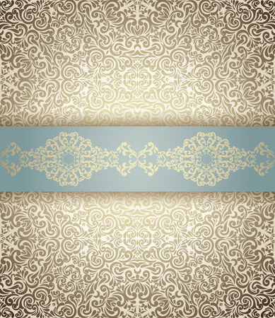 Invitation card Baroque light blue and golden, Vintage border, seamless background