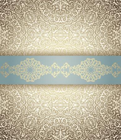 Uitnodiging kaart barokke licht blauwe en gouden, Vintage grens, naadloze achtergrond Stock Illustratie