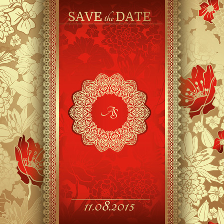 Invitation card in Gold with red flowers, Vintage frame, border, design elements