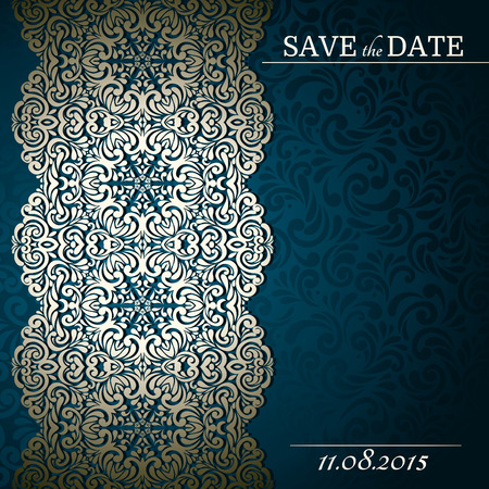 Vintage background with lace-designed border, card, invitation, album cover Vectores
