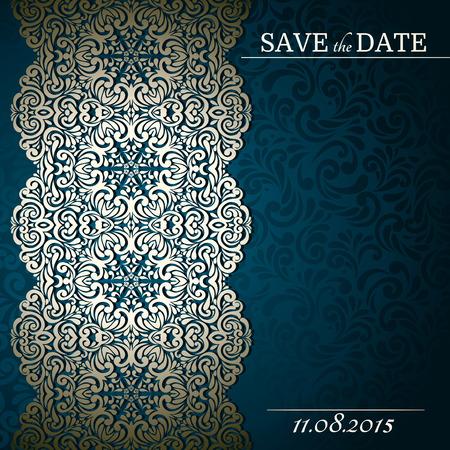 Jahrgang Hintergrund mit Spitze gestaltete Grenze, Karte, Einladung, Album-Cover Standard-Bild - 37729121