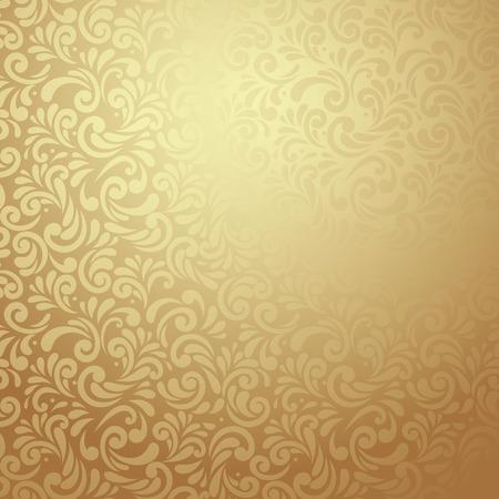 Elegant stijlvolle abstracte bloemen behang. Naadloos patroon in Gold