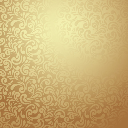 Elegant stylish abstract floral wallpaper. Seamless pattern in Gold 向量圖像