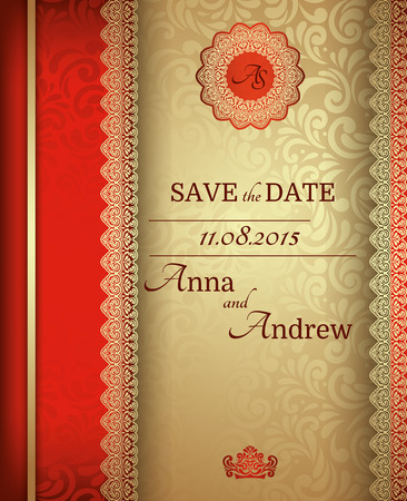 royal wedding: Invitation card Baroque Golden and red, Vintage frame, border, design elements Illustration