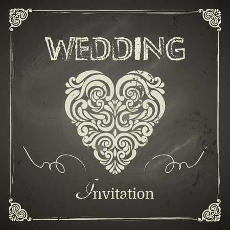 Vintage Wedding Invitation, border, heart and design elements. Easy to use. Chalkboard design Vectores