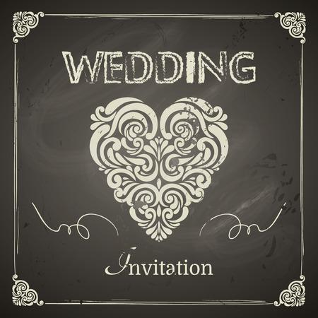 Vintage Uitnodiging van het Huwelijk, grens, hart en design-elementen. Makkelijk te gebruiken. krijtbord ontwerp