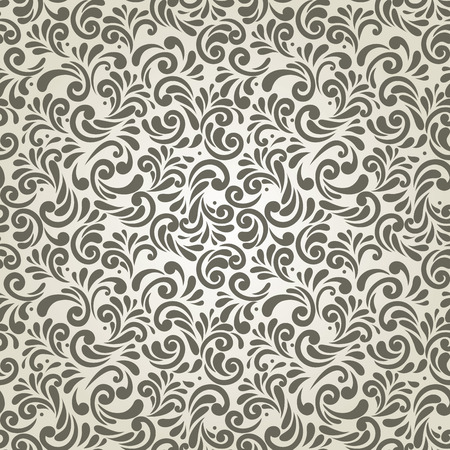 Monochrome seamless abstract floral wallpaper