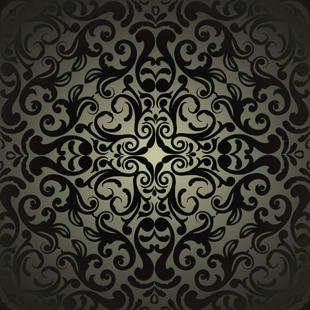 Damask wallpaper, black design 向量圖像